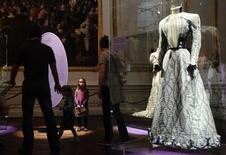 Former Austrian empress Elisabeth's blue Corfu gown, worn on Habsburg vacations to the Greek island, is on display at Sisi museum in Vienna April 23, 2014. REUTERS/Heinz-Peter Bader