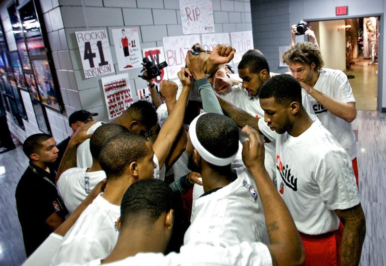 Apr 25, 2014; Portland, OR, USA; The Portland Trail Blazers huddle up outside of the locker room before game three of the first round of the 2014 NBA Playoffs against the Houston Rockets at the Moda Center. Craig Mitchelldyer-USA TODAY Sports