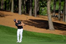 May 2, 2014; Charlotte, NC, USA; Jonas Blixt hits from the fairway on the eleventh hole during the second round of the Wells Fargo Championship at Quail Hollow Club. Mandatory Credit: Joshua S. Kelly-USA TODAY
