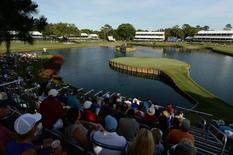May 8, 2014; Ponte Vedra Beach, FL, USA; An overall view of the 17th green during the first round of The Players Championship at TPC Sawgrass - Stadium Course.  John David Mercer-USA TODAY Sports