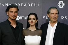"Cast members Josh Hartnett, (L-R) Eva Green and Timothy Dalton arrive for the world premiere of television series ""Penny Dreadful"" in New York May 6, 2014. REUTERS/Eduardo Munoz"