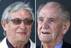 A combination photo shows the French former member of the Kieffer's green berets commando, Leon Gautier (R), aged 91, and former German army paratrooper Johannes Borner (L), aged 88, outside the number 4 Anglo-French commando museum at Ouistreham, Western France, April 30, 2014. REUTERS/Charles Platiau/Files