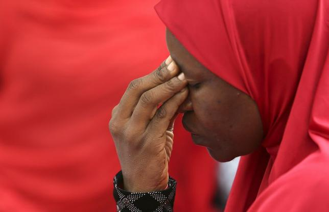 A woman takes part in a protest for the release of the abducted secondary school girls in the remote village of Chibok, during a  sit-in protest at the Unity fountain Abuja, May 12, 2014. REUTERS/Afolabi Sotunde