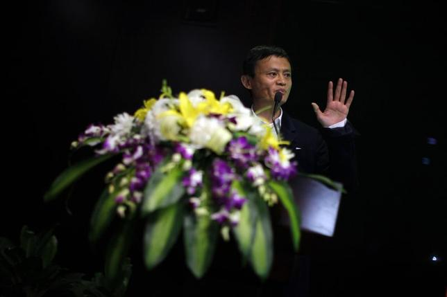 Jack Ma, chairman of China's largest e-commerce firm Alibaba Group, delivers an speech during a corporate event at the company's headquarters on the outskirts of Hangzhou, Zhejiang province April 23, 2013. REUTERS/Carlos Barria/Files