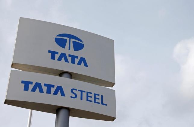The Tata Steel logo is seen at the Tata Steel rails factory in Hayange, Eastern France, September 25, 2013. REUTERS/Vincent Kessler/Files