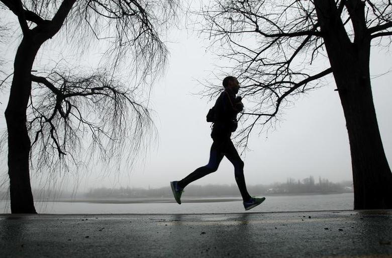 A man jogs on a foggy winter day in a park in Bucharest January 20, 2014. REUTERS/Bogdan Cristel