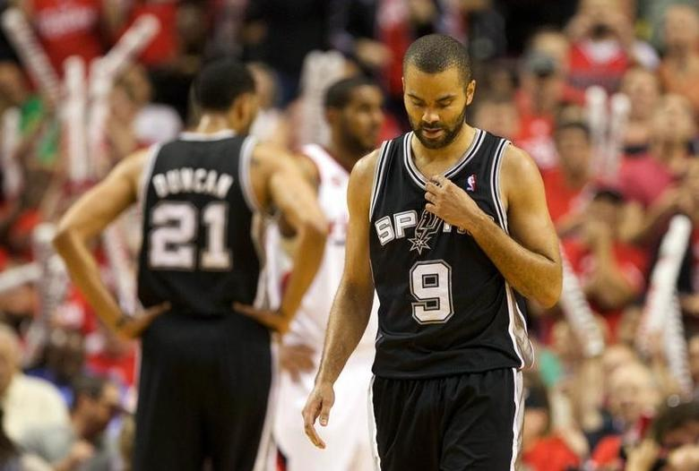 May 12, 2014; Portland, OR, USA; San Antonio Spurs guard Tony Parker (9) reacts after being fouled by the Portland Trail Blazers in the second half of game four of the second round of the 2014 NBA Playoffs at the Moda Center. Mandatory Credit: Jaime Valdez-USA TODAY Sports