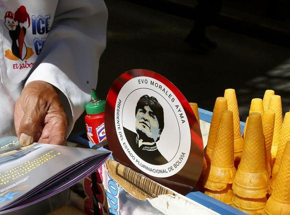 An image of Bolivia's President Evo Morales is seen on an ice cream stand during a May Day demonstration on Labour Day in La Paz May 1, 2014. REUTERS/David Mercado