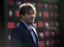 "Director of the movie Gareth Edwards poses at the premiere of ""Godzilla"" at the Dolby theatre in Hollywood, California May 8, 2014.     REUTERS/Mario Anzuoni"