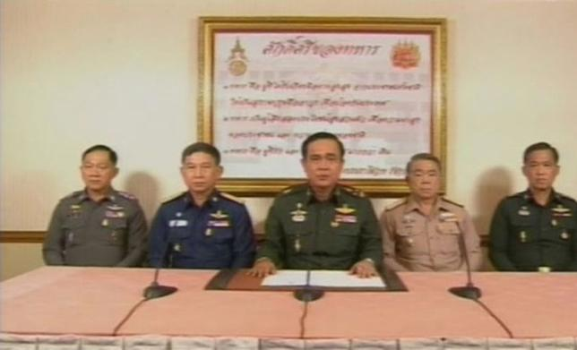 Thailand's army chief General Prayuth Chan-ocha makes an announcement during a television broadcast in Bangkok May 22, 2014 in this still image taken from video. REUTERS/Thai TV Pool via Reuters TV