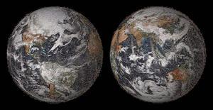 """La Nasa a dévoilé jeudi une représentation de notre planète à partir d'une mosaïque de plus de 36.000 autoportraits (""""selfies"""") postés sur les réseaux sociaux montrant des gens dans différents endroits du Globe. /Image diffusée le 22 mai 2014/REUTERS/NASA"""