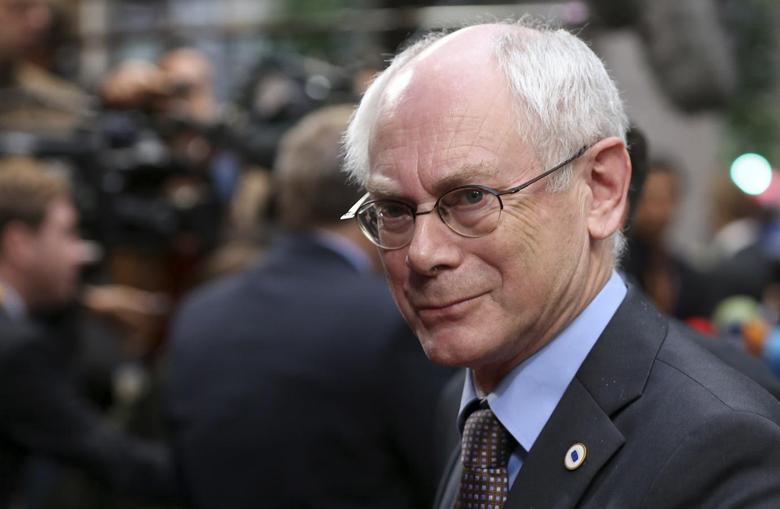 European Council President Herman Van Rompuy arrives at an informal summit of European Union leaders in Brussels May 27, 2014.    REUTERS/Francois Lenoir