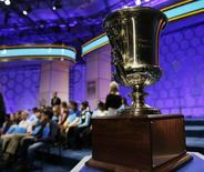 The winning trophy of the 87th annual Scripps National Spelling Bee is shown at National Harbor, Maryland May 29, 2014.  REUTERS/Gary Cameron