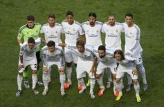 Real Madrid's players pose for a team photo before their Champions League final soccer match against Atletico Madrid at the Luz Stadium in Lisbon May 24, 2014.            REUTERS/Sergio Perez