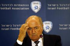 FIFA President Sepp Blatter reacts during a news conference in Jerusalem May 27, 2014. REUTERS/Ronen Zvulun