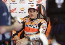 Honda MotoGP rider Marc Marquez of Spain looks on during the second free practice session of the Italian Grand Prix in Mugello circuit in central Italy May 30, 2014. REUTERS/Max Rossi