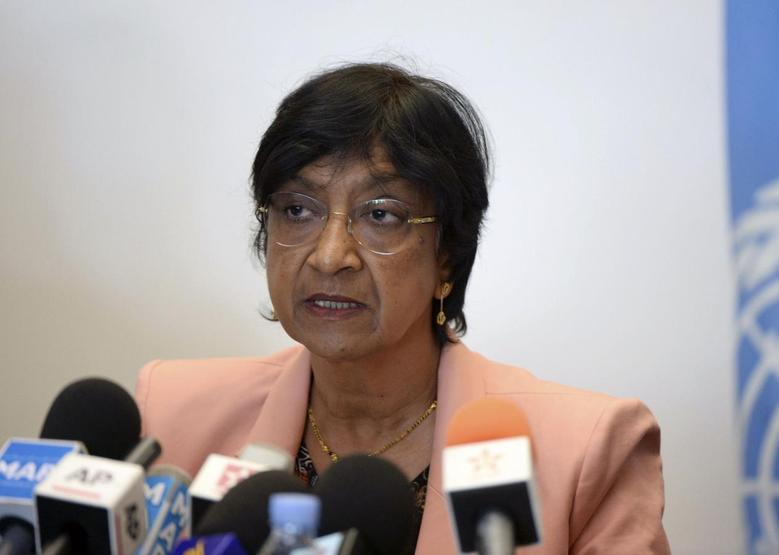 U.N. High Commissioner for Human Rights Navi Pillay speaks about the issue of human rights in Morocco, during a news conference as part of her official visit in Rabat May 29, 2014. REUTERS/Stringer