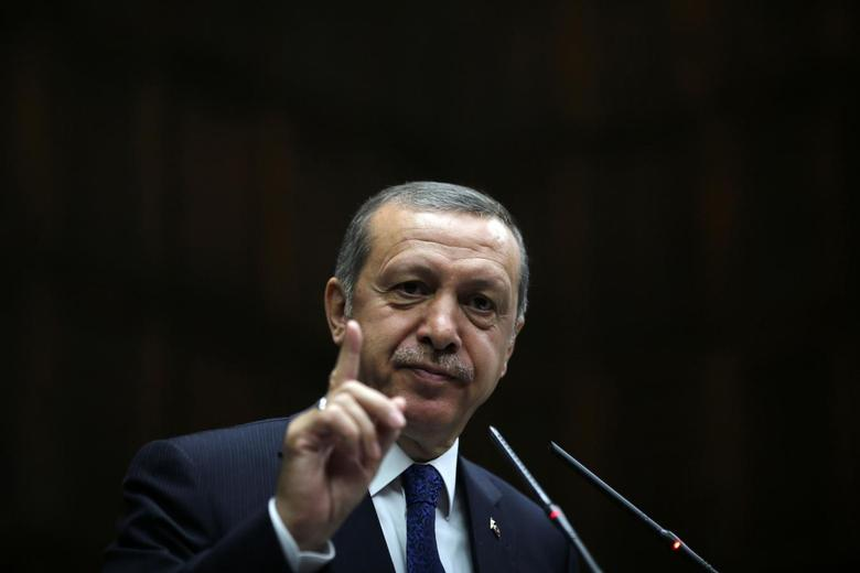 Turkey's Prime Minister Tayyip Erdogan addresses members of parliament from his ruling AK Party (AKP) during a meeting at the Turkish parliament in Ankara June 3, 2014. REUTERS/Umit Bektas