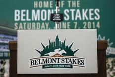 A microphone stand with the 146th Belmont Stakes logo is seen at Belmont Park in Elmont, New York May 30, 2014.  REUTERS/Shannon Stapleton