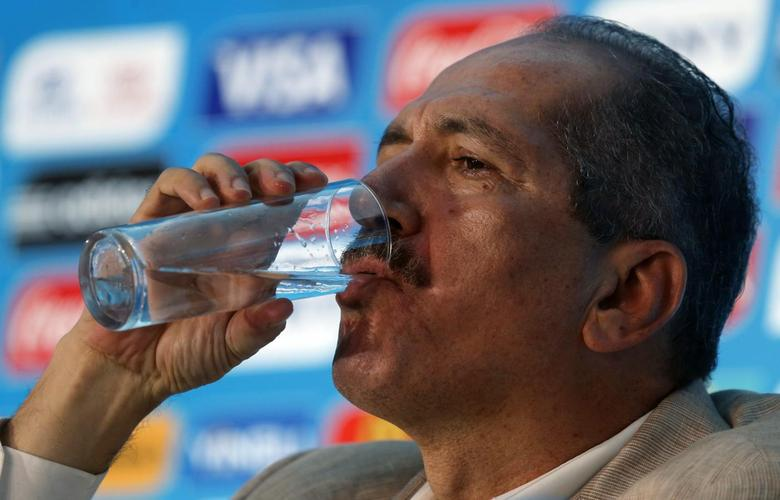 Brazil's Sport Minister Aldo Rebelo drinks water during a news conference ahead of the 2014 World Cup, in Rio de Janeiro April 25, 2014.  REUTERS/Sergio Moraes