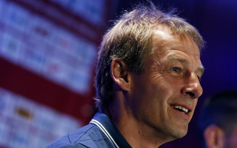Jurgen Klinsmann, head coach of the U.S. men's national soccer team, speaks to the media during a news conference in New York City, May 30, 2014.  REUTERS/Mike Segar
