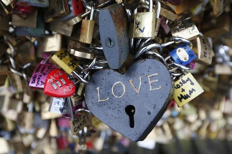 Thousands of padlocks clipped by lovers are seen on the fence of the Pont des Arts over the River Seine in Paris February 13, 2014 on the eve of Valentine's Day.      REUTERS/Charles Platiau