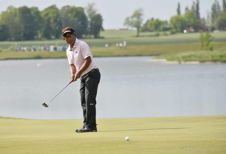 Thongchai Jaidee of Thailand hits a putt on the 18th hole during the final round of the Nordea Masters golf tournament at PGA National in Malmo June 1, 2014. REUTERS/Anders Wiklund/TT News Agency