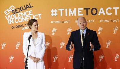 Angelina Jolie, UK's Hague, vow action against sexual...