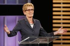 Ontario Premier and Ontario Liberal leader Kathleen Wynne takes part in the Ontario provincial leaders debate in Toronto, June 3, 2014.   Voters in the province of Ontario will go to the polls June 12 to vote.   REUTERS/Mark Blinch