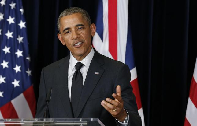 U.S. President Barack Obama speaks during a news conference with British Prime Minister David Cameron (not pictured) at the G7 Summit in Brussels June 5, 2014. REUTERS/Kevin Lamarque