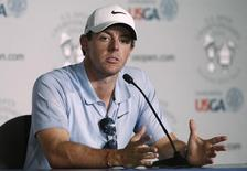 Rory McIlroy of Ireland speaks during a news conference ahead of Thursday's first round of the U.S. Open Championship golf tournament in Pinehurst, North Carolina, June 11, 2014. REUTERS/Mike Segar