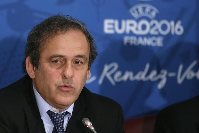 UEFA president Michel Platini attends a news conference after a meeting held in preparation of the EURO 2016 soccer tournament in Paris April 25, 2014.   REUTERS/Jacky Naegelen/Files