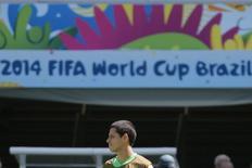 Jogador mexicano Javier Hernández durante treino da seleção mexicana em Natal. 12/6/2014 REUTERS/Jorge Silva