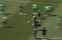 Jogadores da seleção do México durante treinamento na Arena das Dunas, em Natal. 12/6/2014 REUTERS/Carlos Barria