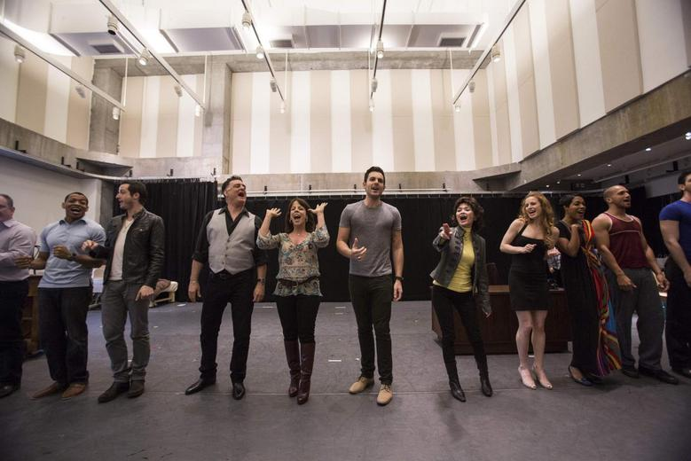 Cast members sing during a rehearsal for ''Piece of My Heart: The Bert Berns Story'' at the Pershing Square Signature Center in Manhattan, New York June 11, 2014. REUTERS/Andrew Kelly