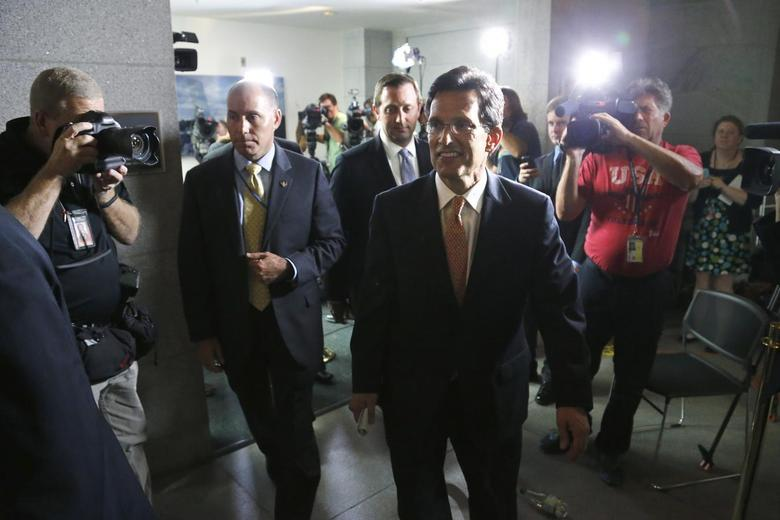 U.S. House Majority Leader Eric Cantor (R-VA) departs after a news conference at the U.S. Capitol in Washington June 11, 2014.   REUTERS/Jonathan Ernst
