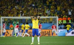 Jogador brasileiro Thiago Silva durante partida contra Croácia, na abertura da Copa do Mundo, na Arena Corinthians, em São Paulo. REUTERS/Kai Pfaffenbach