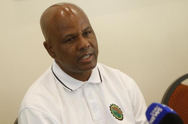 South Africa's Association of Mineworkers and Construction Union (AMCU) President  Joseph Mathunjwa addresses a media conference in Johannesburg, May 5, 2014.  REUTERS/Mike Hutchings
