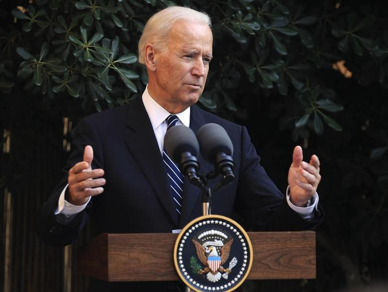 U.S. Vice President Joe Biden delivers a speech at the UN-controlled buffer zone splitting Cyprus and its capital Nicosia May 22, 2014.  REUTERS/Andreas Manolis
