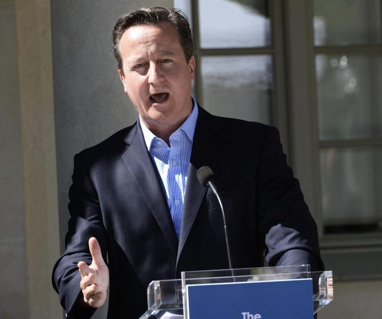 British Prime Minister David Cameron speaks during a news conference at Swedish Prime Minister Fredrik Reinfeldt's summer residence in Harpsund, south of Stockholm June 10, 2014. REUTERS/Maja Suslin/TT News Agency