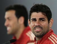 Atacente espanhol Diego Costa durante coletiva de imprensa em Curitiba. 10/06/2014.  REUTERS/Henry Romero