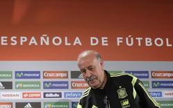Técnico espanhol Vicente Del Bosque durante coletiva de imprensa em Curitiba. 14/6/2014 REUTERS/Henry Romero