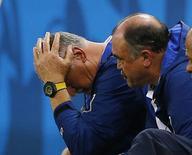 Técnico Felipão reage durante jogo do Brasil com o México.  REUTERS/Marcelo del Pozo