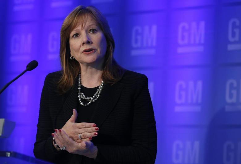 General Motors CEO Mary Barra holds a media briefing before the start of GM's Annual Shareholders Meeting at the GM World Headquarters in Detroit June 10, 2014.  REUTERS/Rebecca Cook