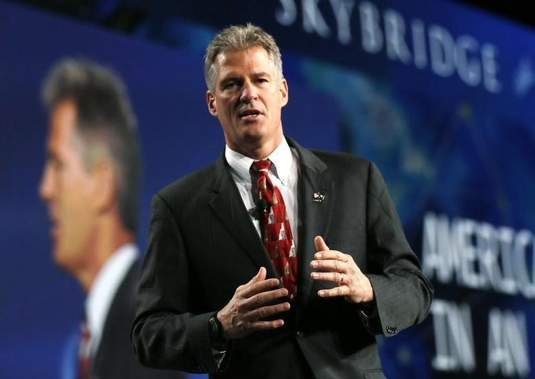 Former U.S. senator Scott Brown speaks at the SALT conference in Las Vegas May 16, 2014.  SALT is the $2.7 trillion hedge fund industry's biggest annual event and is hosted by Skybridge.  REUTERS/Rick Wilking