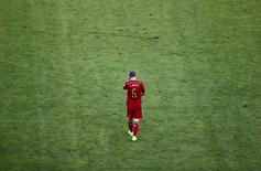 Jogador espanhol Andrés Iniesta no campo durante partida contra Chile no Maracanã, Rio de Janeiro. 18/6/2014 REUTERS/Ricardo Moraes