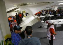 Chilenos invadiram centro de mídia do Maracanã na quarta-feira.      REUTERS/Ricardo Moraes