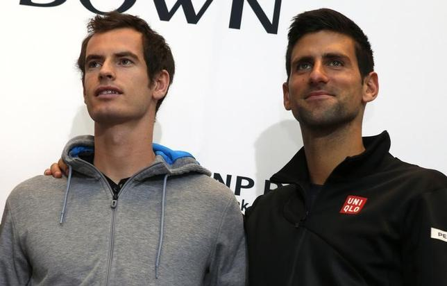 Tennis stars Andy Murray of England (L) and Novak Djokovic of Serbia pose for photographers at a news conference in New York celebrating World Tennis Day March 3, 2014. REUTERS/Mike Segar