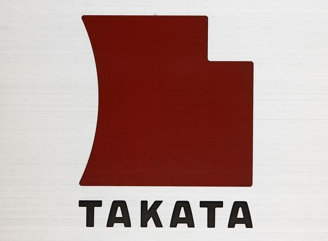 A Logo of Takata Corp is seen outside the company's headquarters in Tokyo April 12, 2013. REUTERS/Yuya Shino