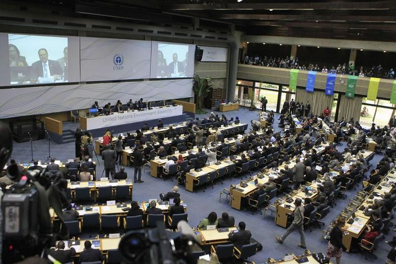 Delegates attend the first United Nations Environment Assembly (UNEA) in Kenya's capital Nairobi June 23. 2014. REUTERS/Noor Khamis